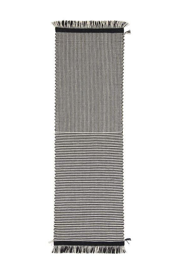 orfeo corsia tappeto per ingresso in lana bianco e nero tessoria asolana pianca nasce da una lavorazione interamente artigianale, con tessuti al 100% in lana sarda e una filiera che abbraccia le migliori esperienze del saper fare italiano