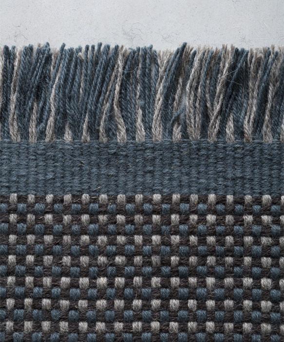 demetra indoor carpet with loose fringed color grey, blue and black designed by davide brugiolo per tessoria asolana