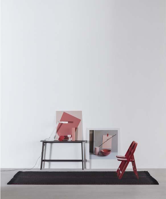 zefiro tappeto nero e rosso in lana fatto a mano design davide brugiolo tessoria asolana pianca